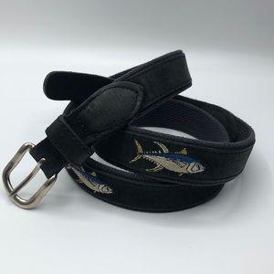EUC ZEPPRO Black Suede Yellowfin Tuna Belt size 42